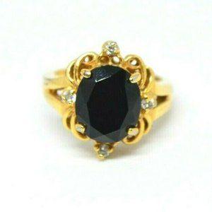 Black Glass Rhinestone Statement Filigree Ring